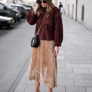Champagne Gold Velvet Skirt, H&M Size S